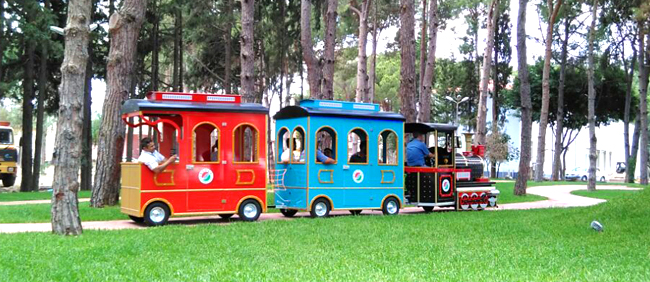 allame trackless electric train