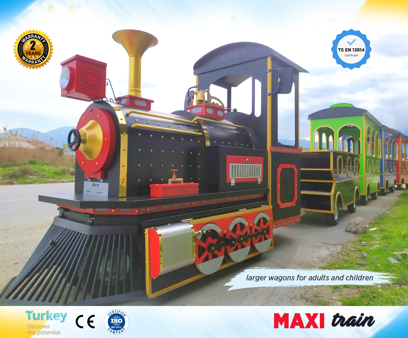 trackless train maxi model larger wagons